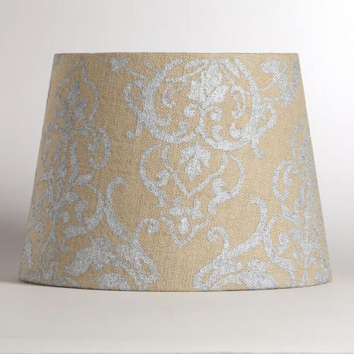 natural burlap metallic print lamp shade lamp shades. Black Bedroom Furniture Sets. Home Design Ideas