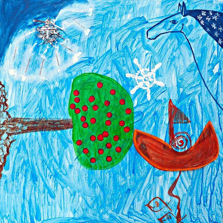 Dream acrylic on canvas #painting #art #acrylic #zazulete #horse #fineart #dream #star #boat #ship #blue #fish #dreams #contemporaryart #treeoflife #canvas