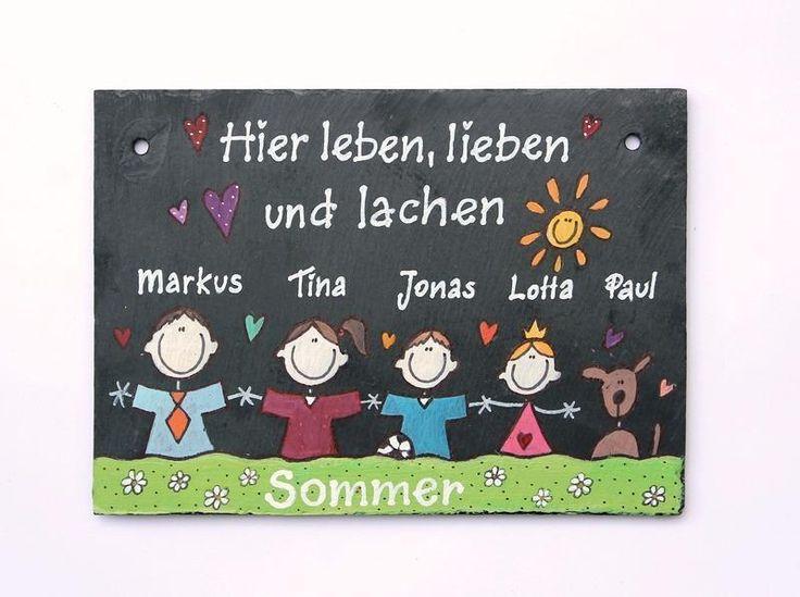 Schiefer Türschild Namensschild Comicfamilie II von Schieferheld auf DaWanda.com