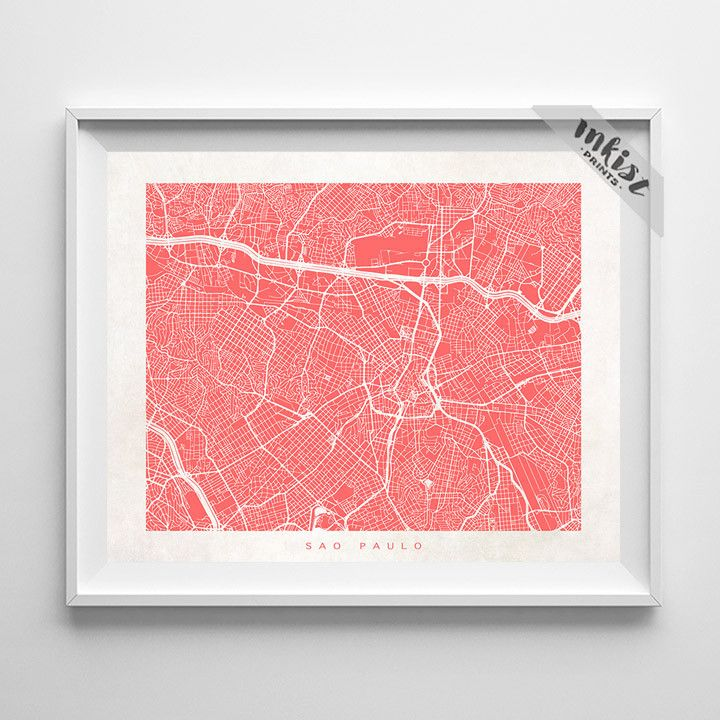Sao Paulo Street Map Print