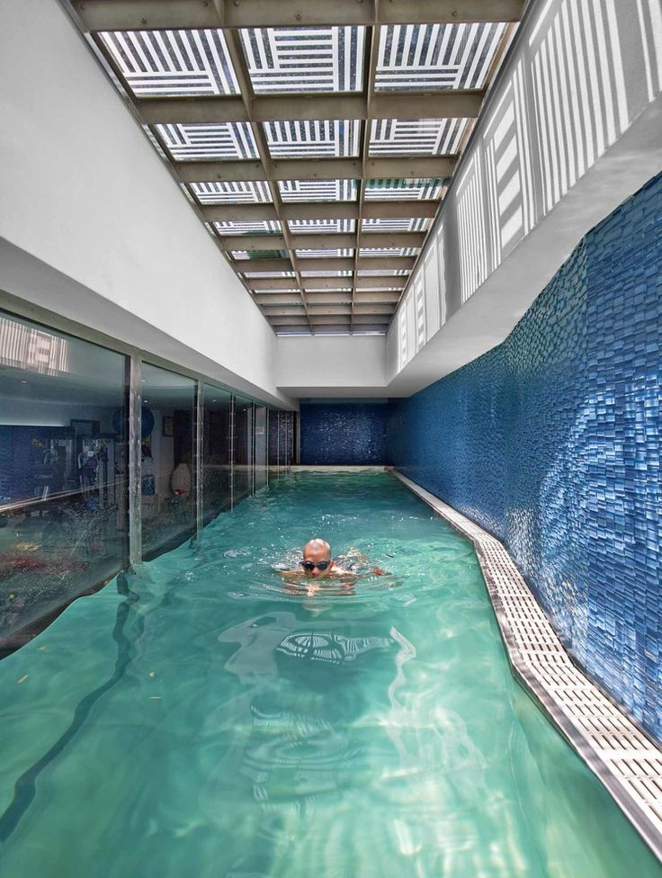 Residential Indoor Pool With Slide. Perfect Modern Pool Designs With ...
