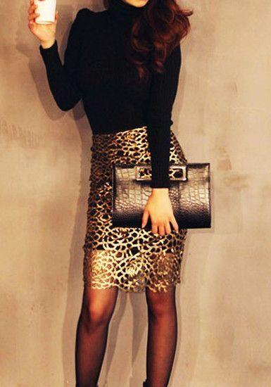 Cutout Gold Skirt - High Waist Cutout Detailing