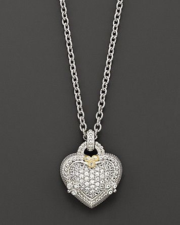 Judith Ripka Sterling Silver and White Sapphire Pavé Ambrosia Heart Pendant Necklace, 17"