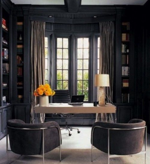 Stylish And Dramatic #Masculine Home Office Design Ideas | DigsDigs