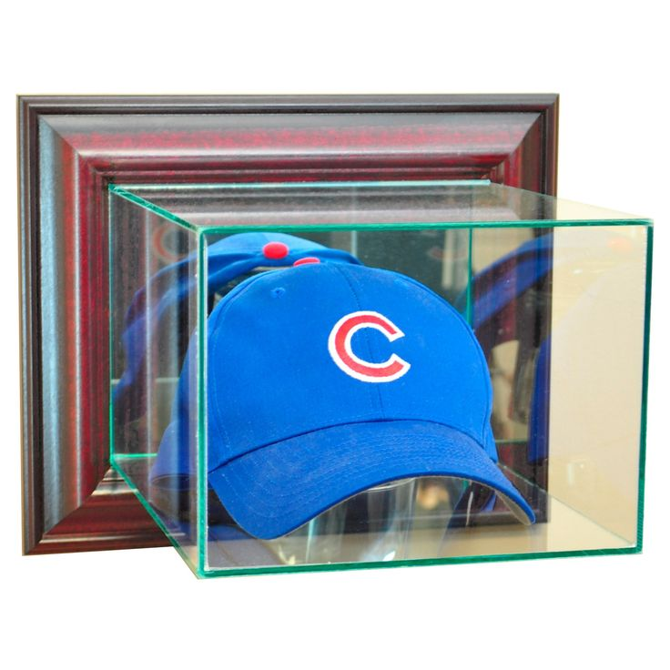 Perfect Cases - Wall Mounted Cap and Hat Display Case - Cherry Finish, Clear