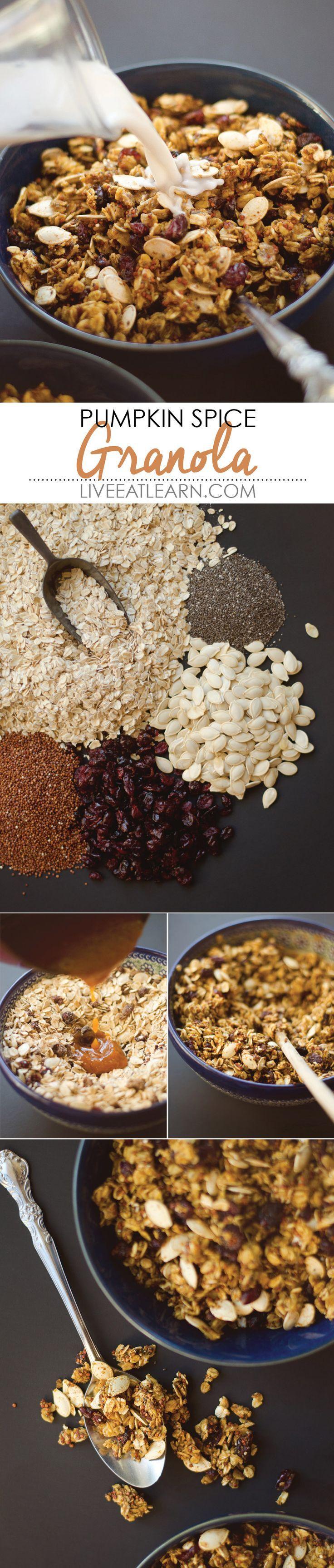 Pumpkin puree, pumpkin seeds, and pumpkin spice make up this cozy, nut-free, vegan granola. #nutfree #breakfast