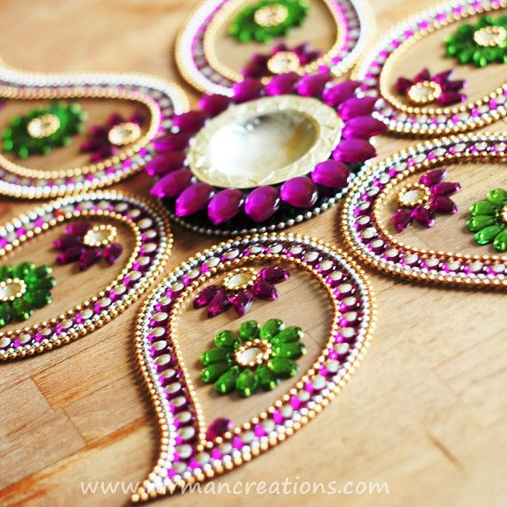 Indian wedding lotus beaded table decor white red green by Nirman