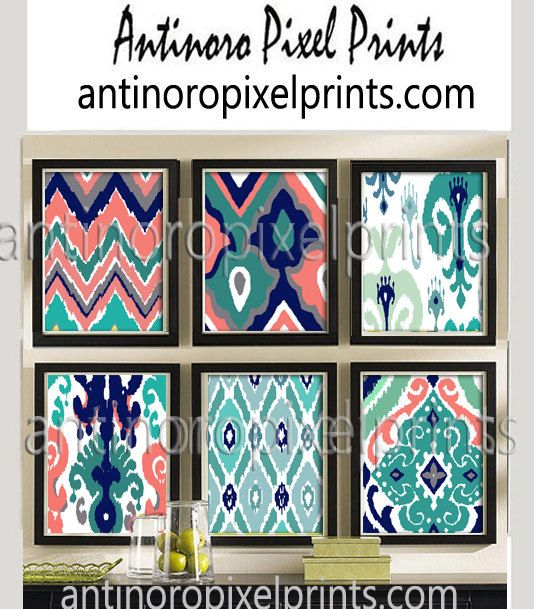 Coral Navy Teal Grey Ikat Prints, Set of (6) Wall Art Prints, Custom Colors Sizes Available, Custom Colors Available