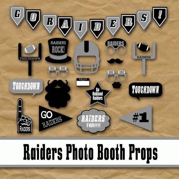 Oakland Raiders Photo Booth Props and Party Decorations, Birthday Party Idea