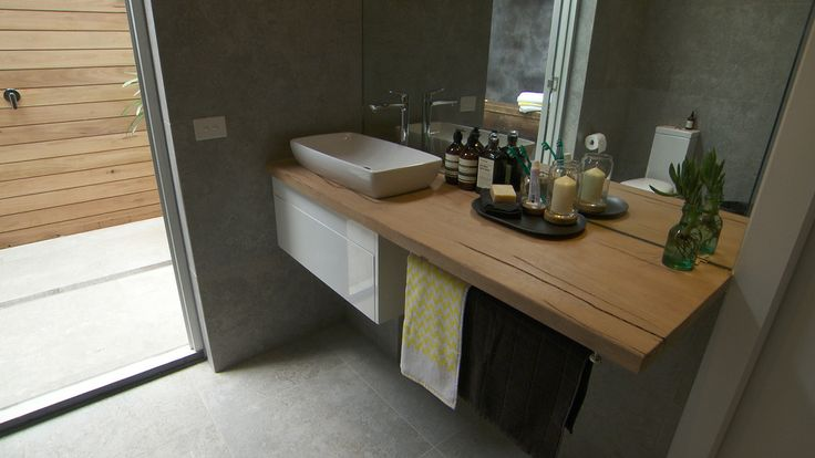 Brad  Dale, The Block - Reece bathroom with timber and grey tiles. Love the big mirror