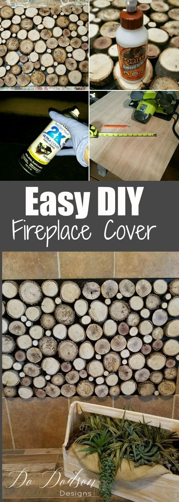 Easy DIY Log Fireplace Cover Ideas