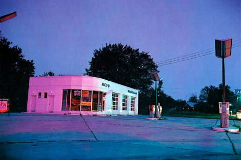 "William Eggleston ""Untitled, from Troubled Waters Portfolio"" (1980) - as with the previous photograph, I selected this one for its coloring and combination of the blue and magenta. It sets the mood for the work. It allows for a mundane, everyday scene to become very interesting."