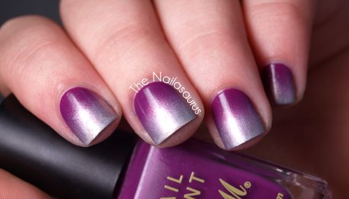 Silver and Purple Gradient NailsNails Art, Gradient Nails Nailasaurus, Gradient Mani Via, Gorgeous Purple, Bright Purple'S Bas, Foil Gradient, Purple Gradient, Nails Revisited, Silver Gradient