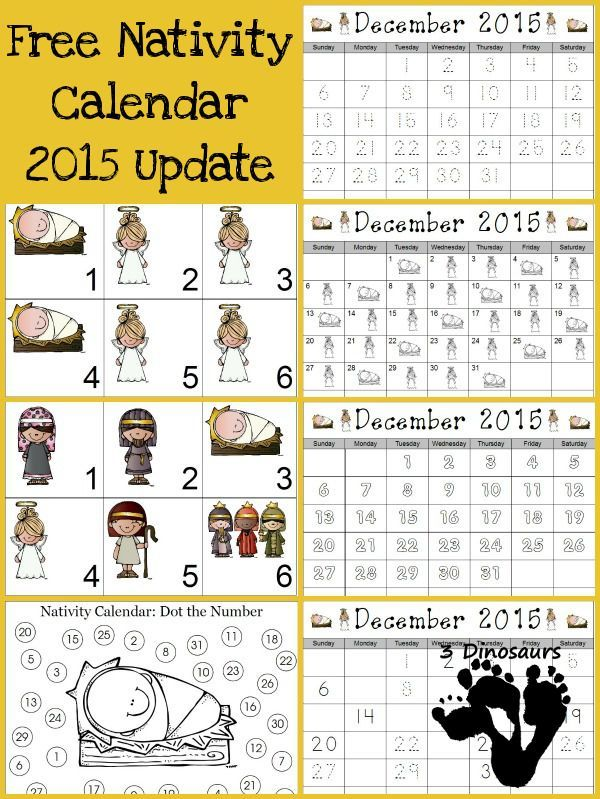 Free Nativity 2015 Calendar Printable - two card types one with an ABB pattern, 6 different single page calendar types - 3Dinosaurs.com