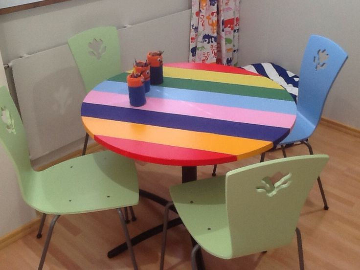 Rainbow table ja repainted chairs. Tiirismaa School Project.