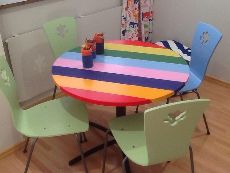 Rainbow table ja repainted chairs. Tiirismaa School Project.