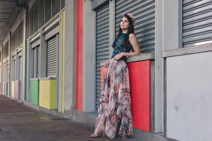 Emerald green lace top with Floral printed chiffon skirt. Credits: Model: Dominique Mabille. Photographer: Tina Hsu. Location: Long Street, Cape Town, South Africa