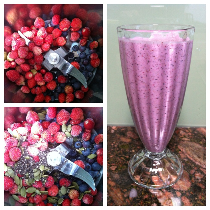 Berry & seed milkshake. I whipped up this drink in my thermomix this morning for breakfast!  1/2 cup frozen Siberian Wood strawberries, 1/3 cup Nelly Kelly blueberries (both berries home grown), 2 tbsp chia seeds, 1 tbsp pepitas (pumpkin seeds), 1 cup raw full cream milk, a splash of my homemade Rosehip/orange syrup.  20 seconds on speed 9.  Can easily be made in a vitamiser or food processor.