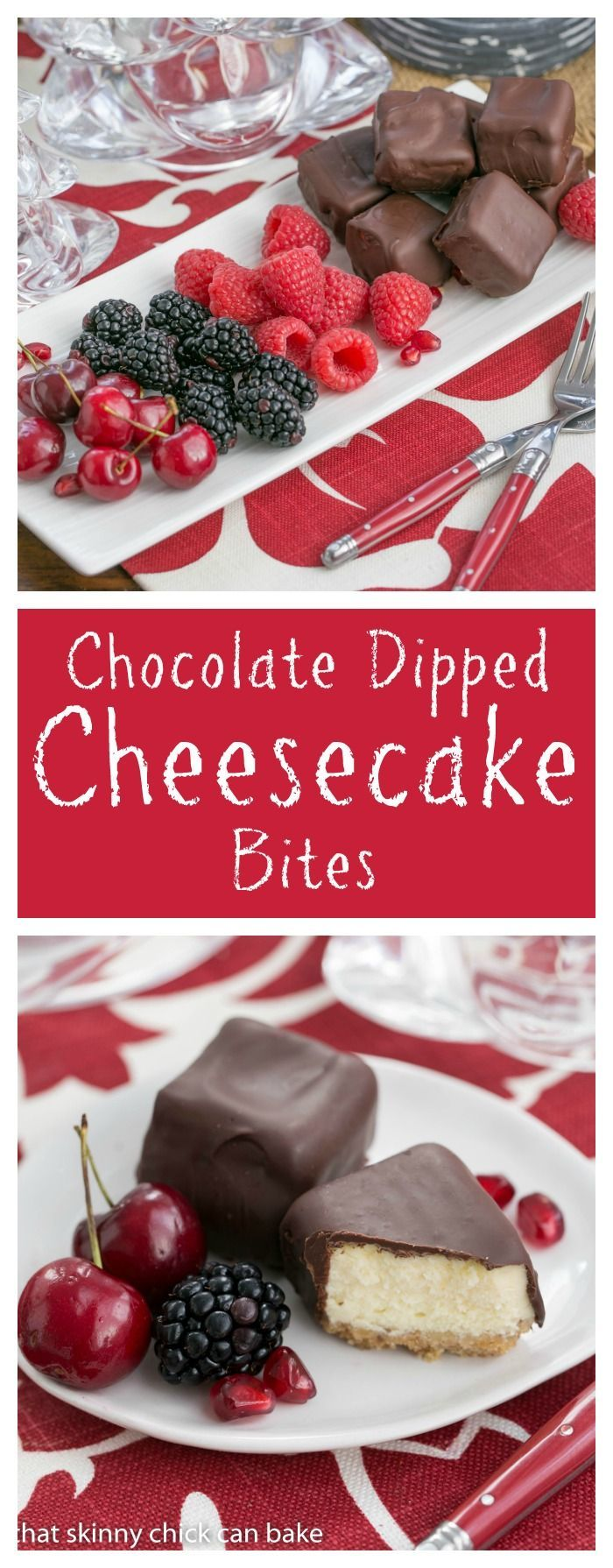 Chocolate Dipped Cheesecake Bites   Exquisite, bite-sized gems for your holiday buffet! thatskinnychickcanbake.com @That Skinny Chick Can Bake!!! #SundaySupper