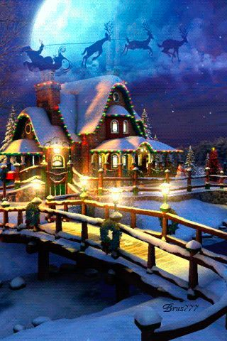 MOVING Snowing Christmas House Photo - Snowing Christmas House Gif
