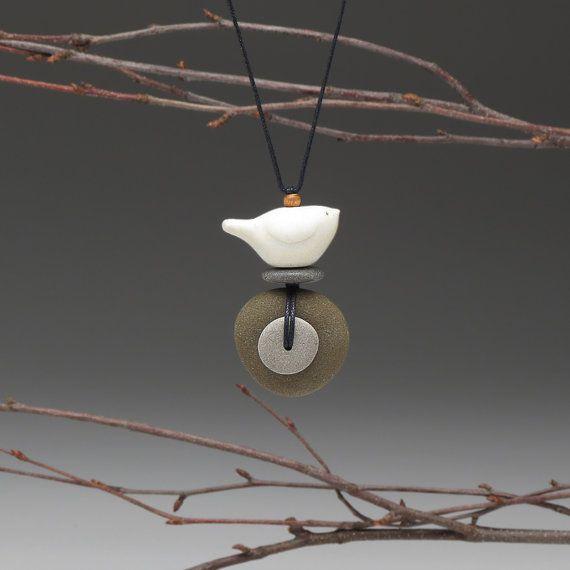 NecklaceBeach Stone and BirdSpirit Bird by SueDavisJewelry on Etsy, $55.00