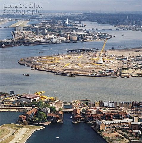 The Millennium Dome construction site in North Greenwich with Blackwall Basin and Coldharbour in 1997