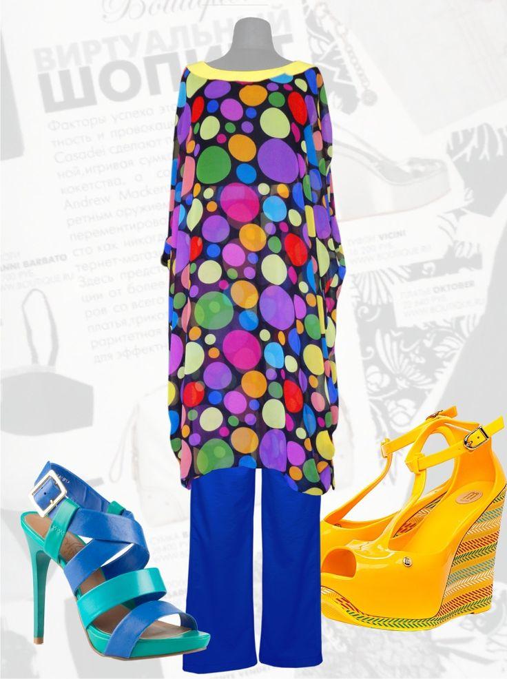 68$ Шифоновый костюм большого размера на лето в цветной горох Артикул 485, р50-64 Женские костюмы большие размеры  Женские костюмы с брюками большие размеры  Летний брючный костюм большие размеры  Нарядные женские брючные костюмы большие размеры Шифоновые брючные летние костюмы  большие размеры