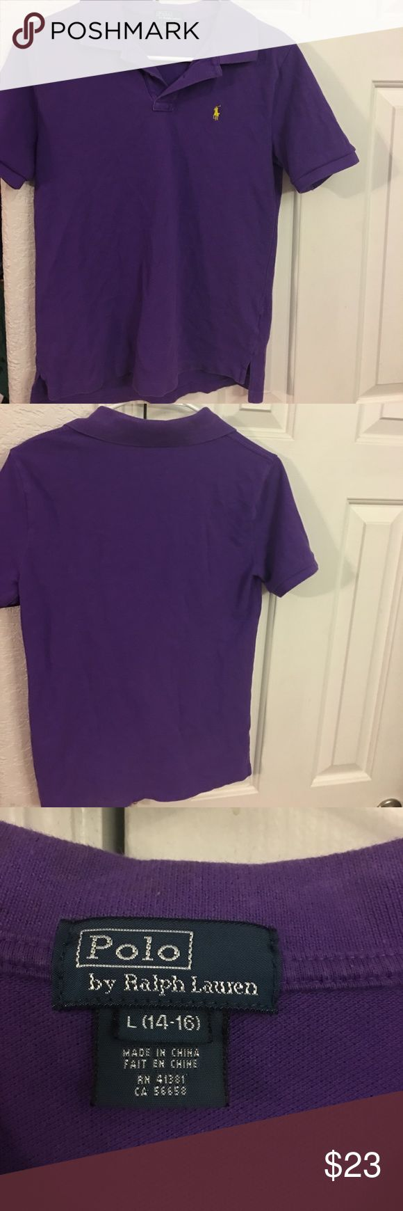 👛Polo By Ralph Lauren Boy's purple polo shirt L Boy's purple polo shirt size L (14-16)  *No Trades** Only Reasonable offers will be considered **sold as is in preowned/ used condition with the expected wear associated with/to preowned used itemssold as is in preowned/ used condition with the expected wear associated with/to preowned used items please see all photos for most accurate condition description Polo by Ralph Lauren Shirts & Tops Polos