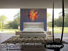 luminaire design concept innovant designer avec ombre portée au mur - modele Love red