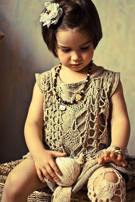 Купить Винтажный сарафан - винтаж, винтажный стиль, летний сарафан, детское платье, вязаный сарафан