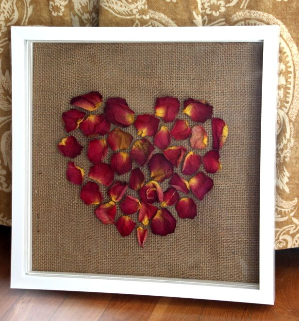 Keep Your Valentine's Day Rose Petals Long After The Holiday --> http://www.hgtvgardens.com/crafts/flower-craft-dried-rose-petal-shadow-box?soc=pinterest