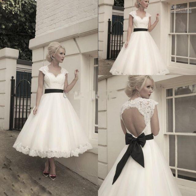 Tea Length Vintage Wedding Dresses With Black Sash In 2020 Tea Length Wedding Dress Tea Length Wedding Dress Vintage Short Wedding Dress