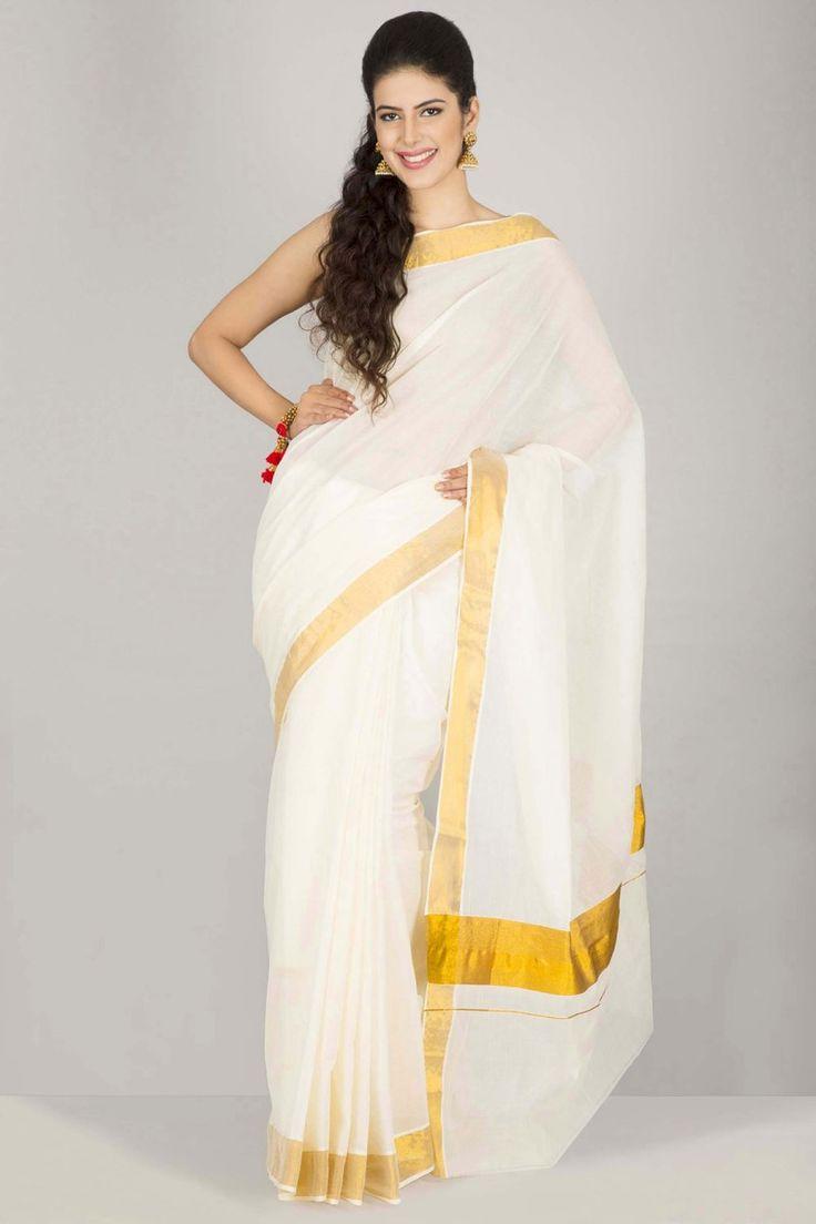 Serene Ivory Kasavu Kerala Cotton Saree With Gold Zari Striped Border And Pallu