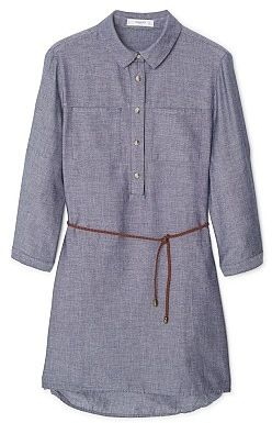 Womens light blue grey cotton shirt dress from Mango - £35.99 at ClothingByColour.com