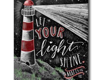 Let Your Light Shine Chalk Art Chalkboard Art от TheWhiteLime