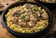 Braised Venison Meatball Stroganoff with Egg Noodles Recipe   Traeger Wood Pellet Grills