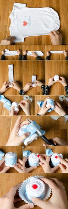babyparty geschenke basteln idee cupcake strampelhose