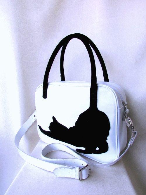 Casual leather bag cat bag appliqué bag women's by AfinaHandmade