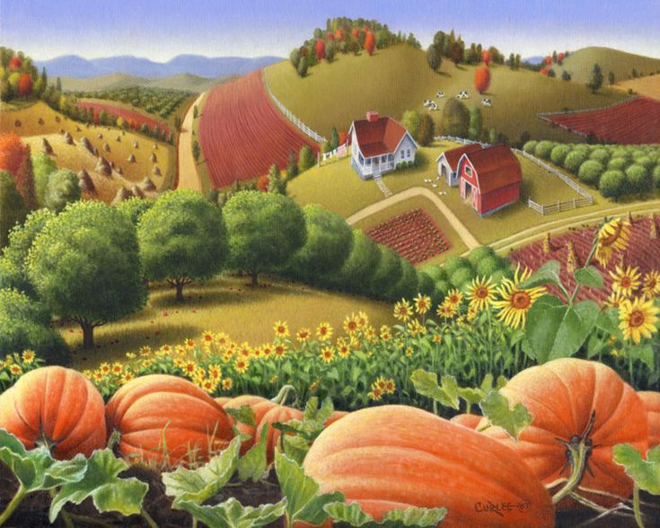 Appalachian Pumpkin Patch Harvest Farm Country Landscape Painting Limited Edition Prints For Sale