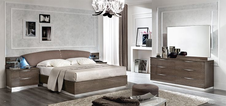 High Gloss Contemporary Bedroom Furniture Set | Silver Birch | Italian Bedroom Furniture | Contemporary Furniture | Modern Furniture | EM Italia