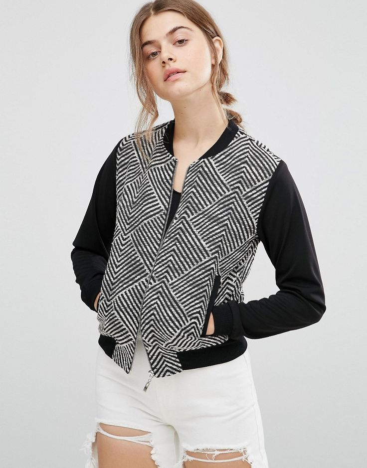Buy it now. Madam Rage Geo Bomber Jacket - Black. Jacket by Madam Rage, Cotton-stretch fabric, Geometric design, Baseball collar, Zip fastening, Functional pockets, Ribbed cuffs and hem, Regular fit - true to size, Machine wash, 65% Cotton, 30% Polyester, 5% Elastane, Our model wears a UK 8/EU 36/US 4. , chaquetabomber, bómber, bombers, elbowdiamond, baseball. Black Madam Rage  bomber jacket  for woman.