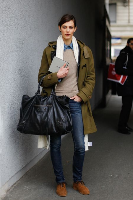 Have i posted this before? Olive coat, tan sweater, chambray shirt, oversized black bag, skinnies, and suede oxfords.