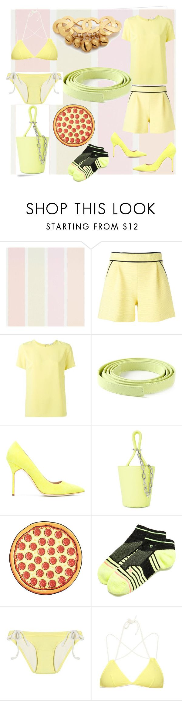 """yellow line's of set"" by denisee-denisee ❤ liked on Polyvore featuring Post-It, Boutique Moschino, P.A.R.O.S.H., Ermanno Scervino, Manolo Blahnik, Alexander Wang, Stance, Solid & Striped and vintage"