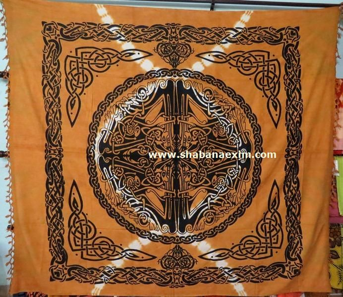 Orange Celtic Tapestry New Printed Bed Sheets No Description Product Id:	: 3045 Size:	: 150X220cm, 210X240 cm, Material:	: 100% Cotton Design:	: Printed Colors:	: Any Custom Color