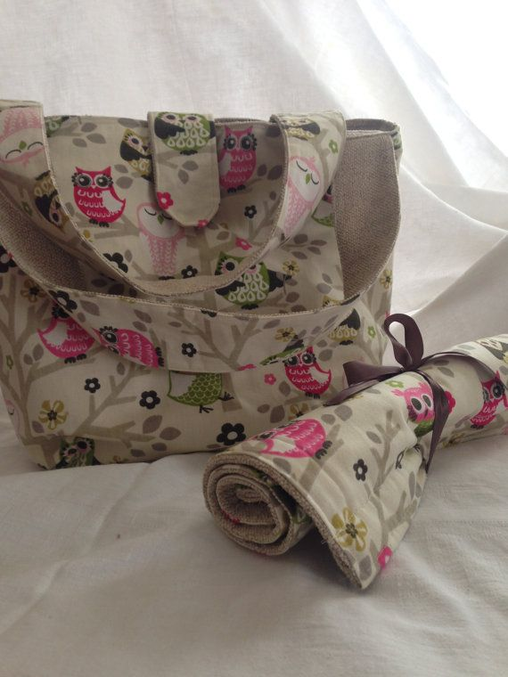 Diaper Bag with interior pockets & a by BlessingsandBabies on Etsy, $55.00