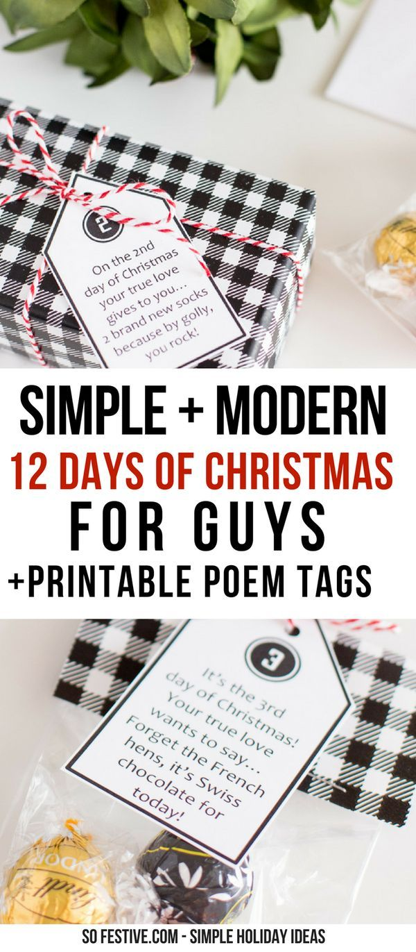 12 Days Of Christmas For Guys Printable Tags And Gift Ideas Christmas Ideas For Boyfriend Christmas Gifts For Him 12 Days Of Christmas