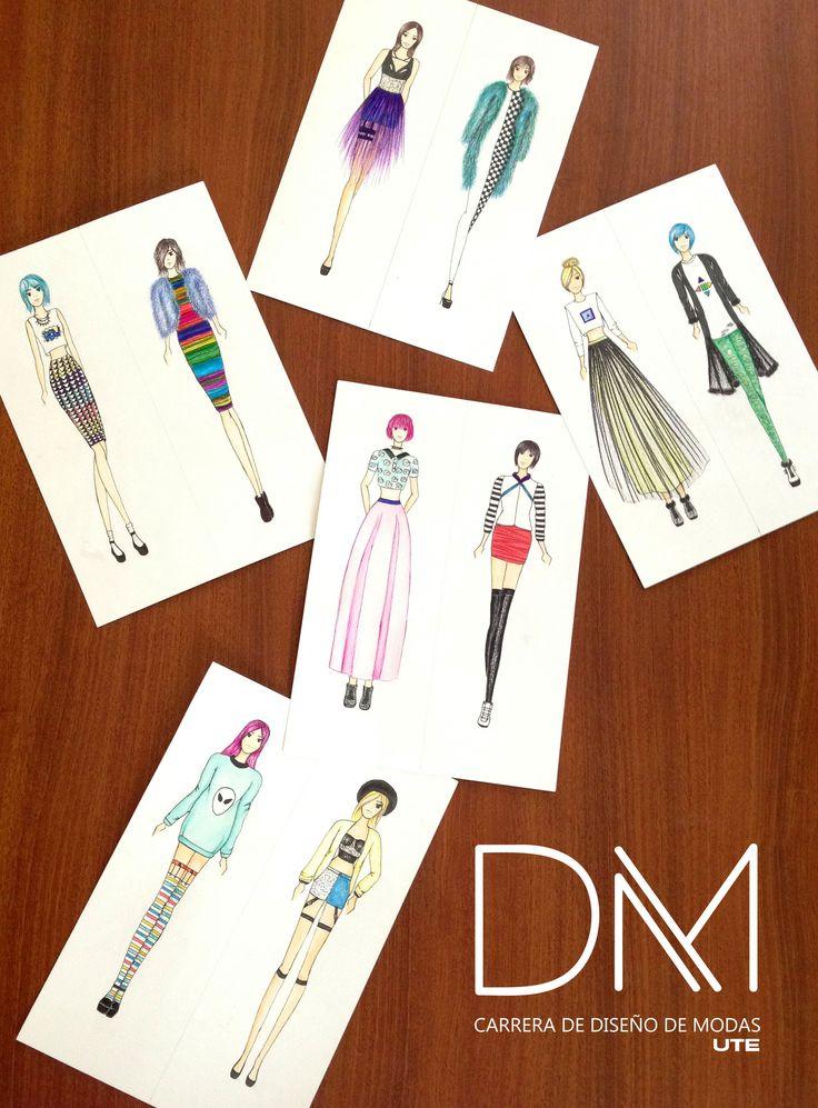 Seguimos trabajando para la Semana de la Moda. Ilustraciones Diseño Casual - Alumna: Thabata Merino