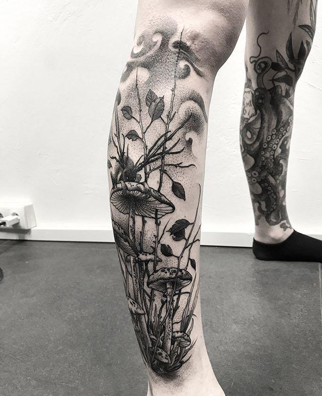 Duchy Blacktattoo Blackart Tatuaz Tatuaz Tattoo Foresttattoo Forest Mushrooms Ink Creature Wawa Warszawa Forest Tattoos Jellyfish Tattoo Tattoos