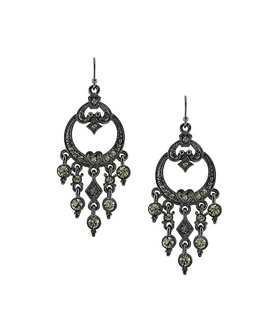 Crystal & Black Rhodium Chandelier Drop Earrings