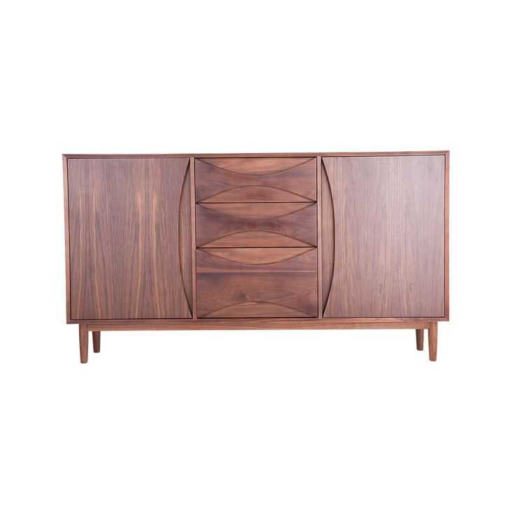 The Halvmane Sideboard is inspired by mid-century modern design; this stylish sideboard will look great in retro and contemporary spaces alike. The large wood drawer pulls create a wonderfully appealing contrast of positive and negative space; the rich walnut veneer only adds to this piece's allure. Not only attractive but functional, this sideboard features three drawers and two cabinets that provide ample storage space.